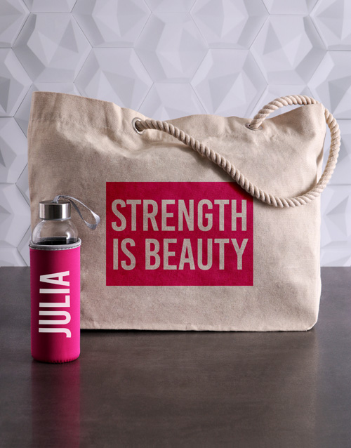 personalised: Personalised Beauty Waterbottle and Tote!