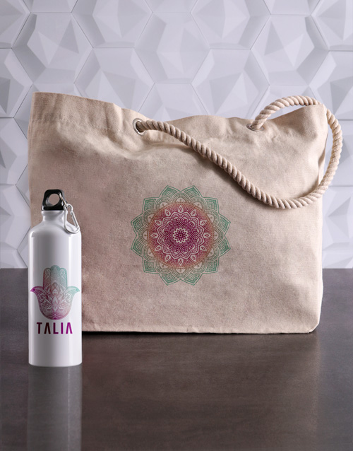 bosses-day: Personalised Mendhi Waterbottle and Tote!