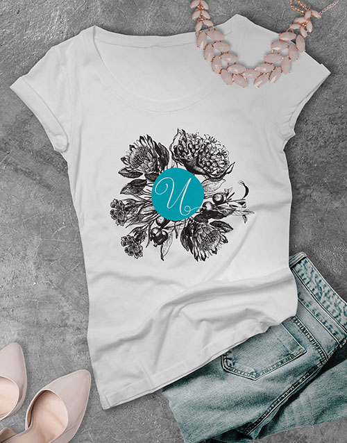 clothing: Personalised Autumn Initial Ladies T Shirt !