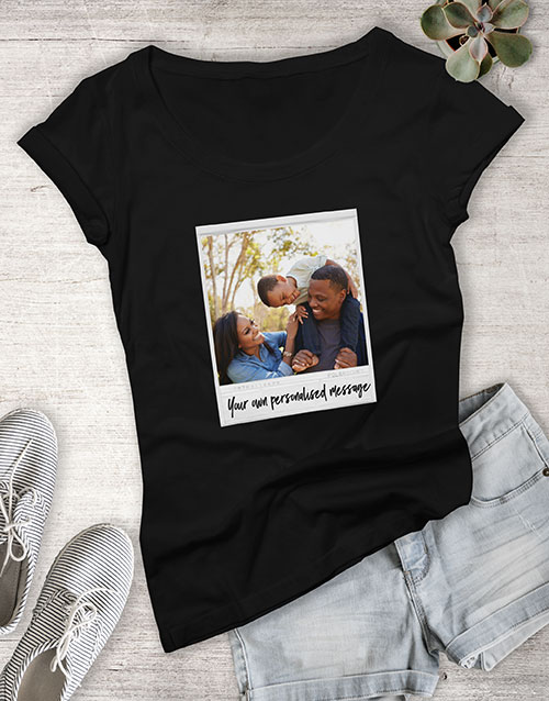 clothing: Personalised Polaroid With Message Ladies T Shirt !