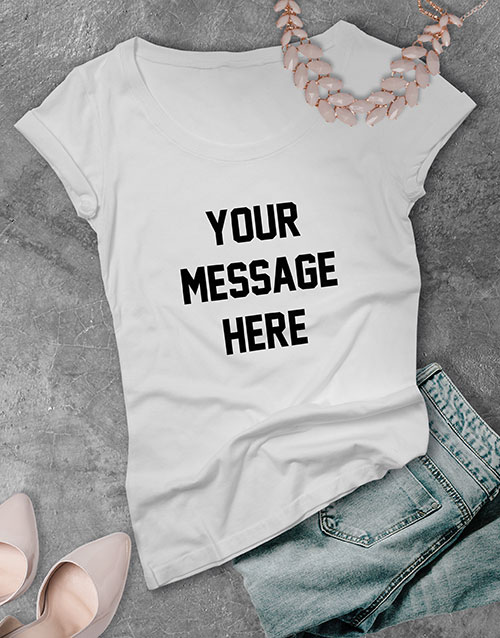 christmas: Personalised Your Own Message Ladies T Shirt !