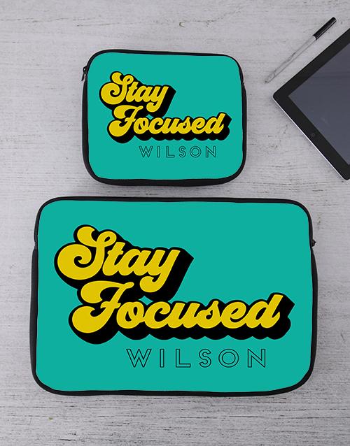 bosses-day: Personalised Stay Focused Tablet or Laptop Sleeve!