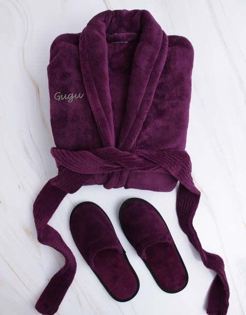 mothers-day: Personalised Purple Fleece Gown And Slipper Set!