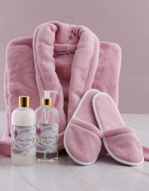 mothers-day: Personalised Floral Pink Fleece Gown Gift Set!