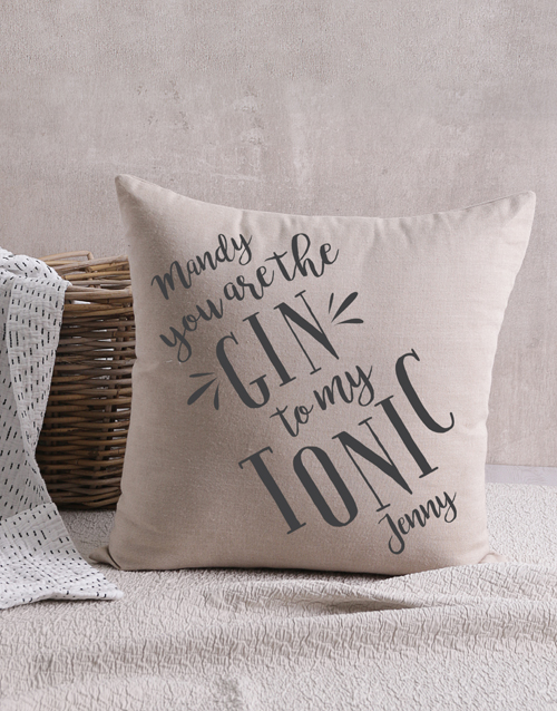 christmas: Personalised Gin And Tonic Scatter Cushion!
