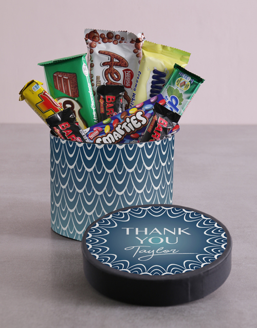 chocolate: Personalised Thank You Blue Pattern Hat Box!