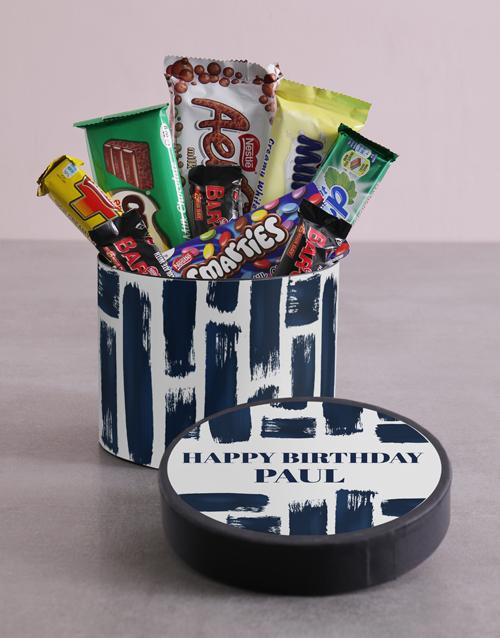 personalised: Personalised Blue Brush Strokes Birthday Hat Box!
