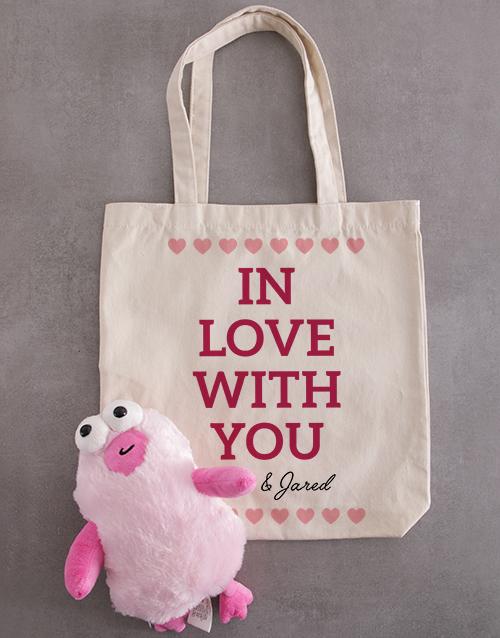 personalised: Personalised In Love Teddy Tote Bag!