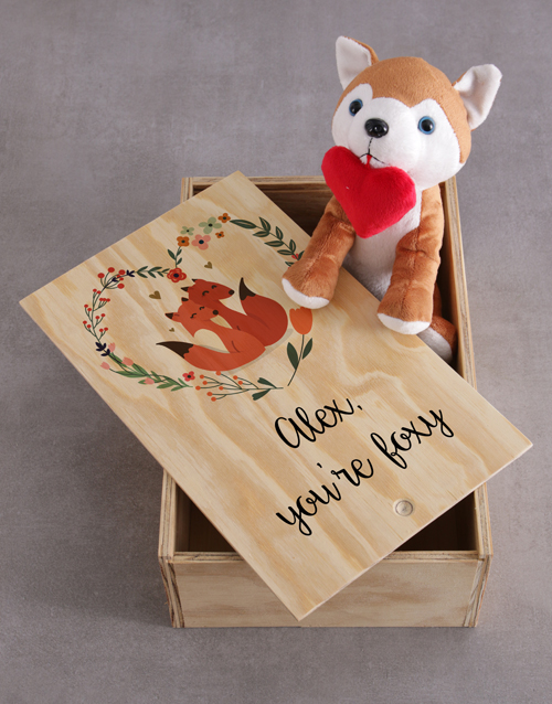 valentines-day: Personalised Fox And Wooden Slide Hamper!