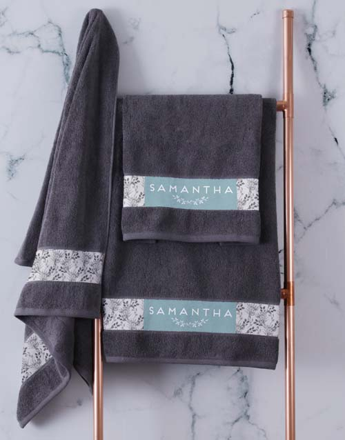bath-and-body: Personalised Protea Charcoal Towel Set!