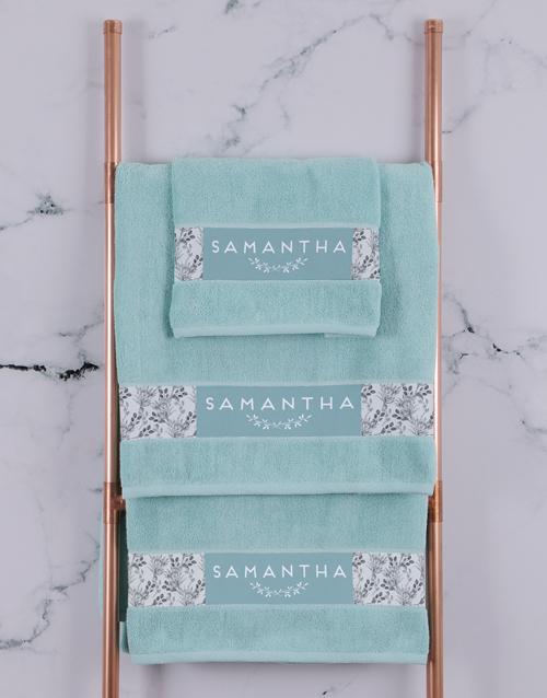 christmas: Personalised Protea Duck Egg Towel Set!