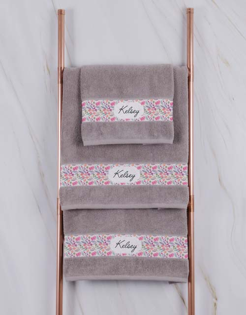 bath-and-body: Personalised Floral Natural Towel Set!