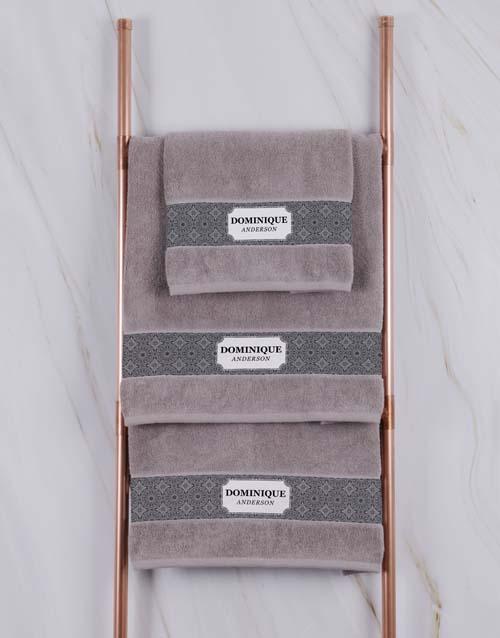 christmas: Personalised Damask Natural Towel Set!