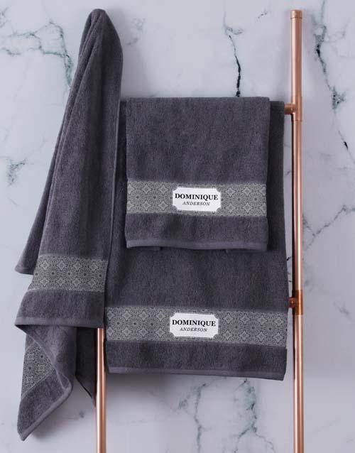 christmas: Personalised Damask Style Charcoal Towel Set!