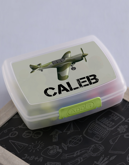 personalised: Personalised Fighter Plane Boys Lunch Box!