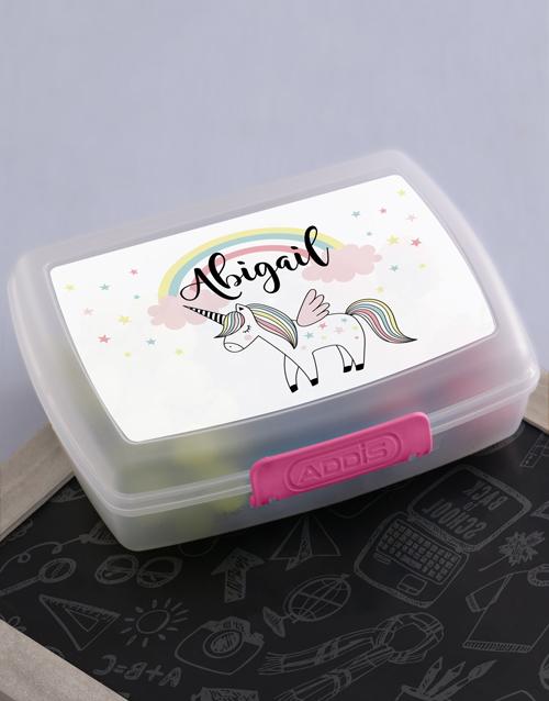 personalised: Personalised Unicorn Girls Lunch Box!
