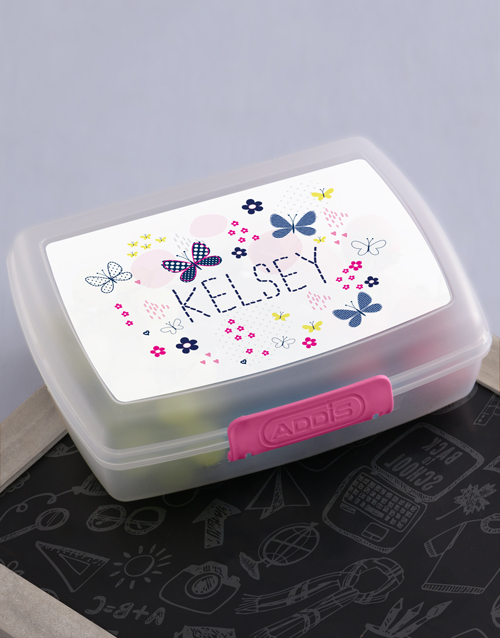 personalised: Personalised Butterfly Girls Lunch Box!