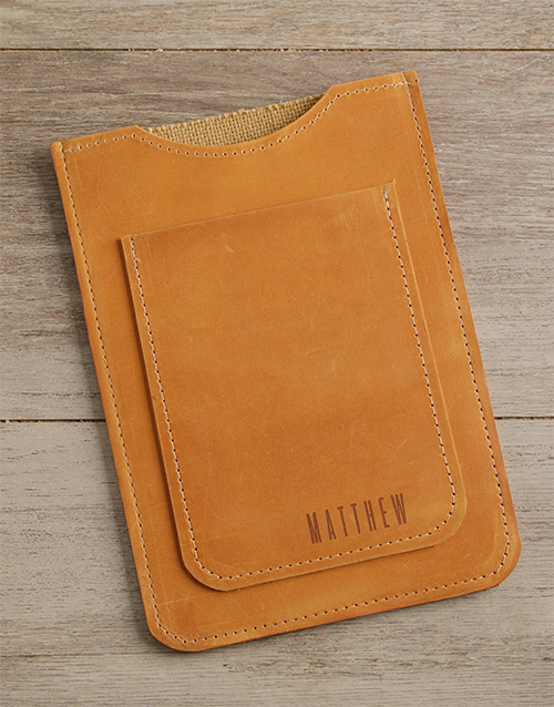 fathers-day: Personalised Tan Leather Tablet Cover!
