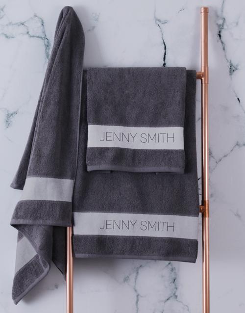 christmas: Personalised Modern Name Charcoal Towel set!