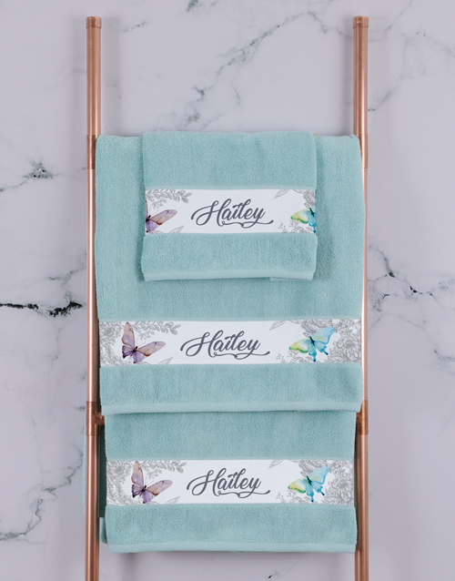 christmas: Personalised Butterfly Duck Egg Towel Set!