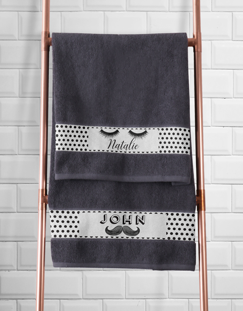 christmas: Personalised Stache and Lash Towel Set!
