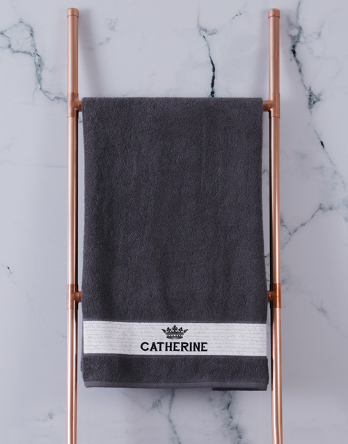 christmas: Personalised Royal Charcoal Towel Set!