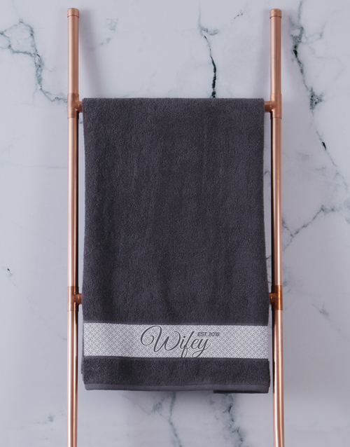 christmas: Personalised Hubby and Wifey Charcoal Towel Set!