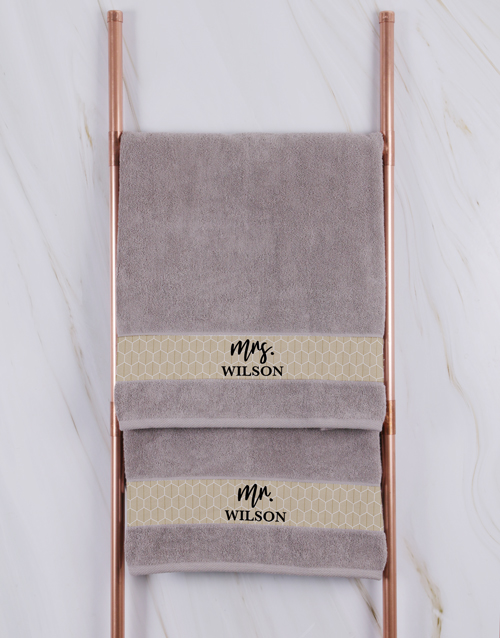 christmas: Personalised Mr and Mrs Stone Towel Set!