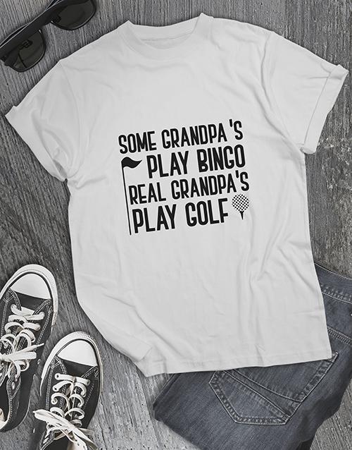 clothing: Personalised Real Grandpas Play Golf Shirt!