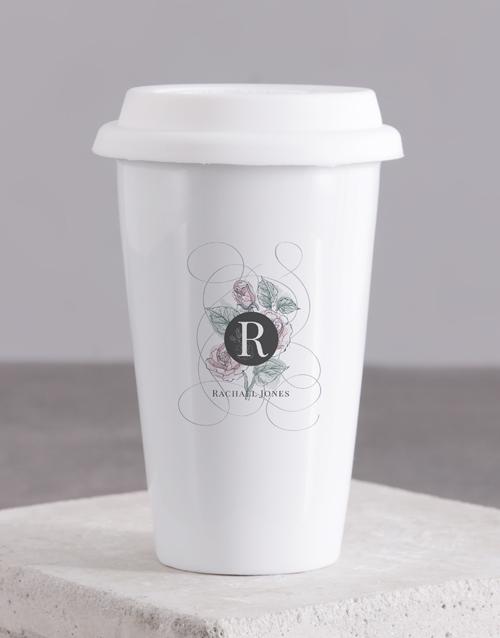 homeware: Personalised Floral Mongogram Ceramic Travel Mug!
