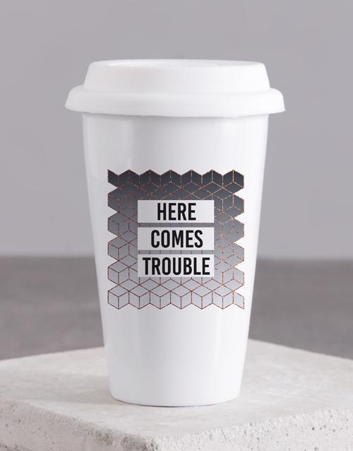 personalised: Personalised Here Comes Ceramic Travel Mug!