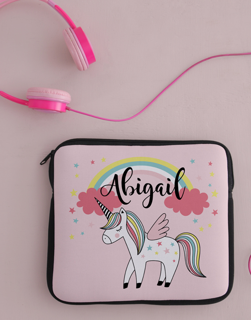 personalised: Personalised Neoprene Unicorn Tablet Cover!