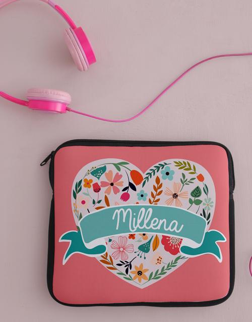 personalised: Personalised Neoprene Floral Heart Tablet Cover!