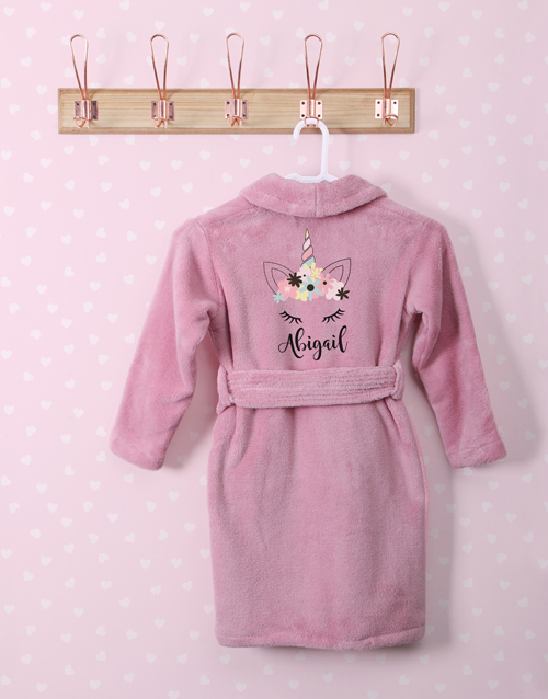 kids: Personalised Unicorn Sparkle Pink Fleece Gown!