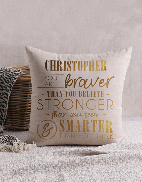 christmas: Personalised Gold Foil Braver Scatter Cushion!
