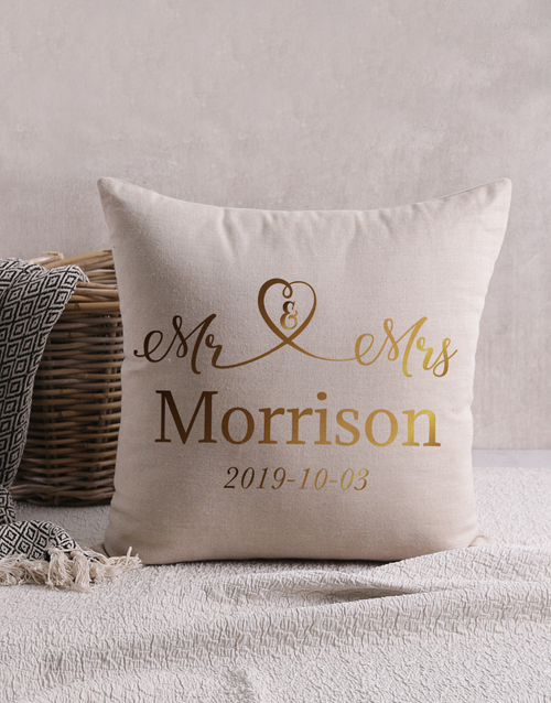 christmas: Personalised Gold Foil Mr and Mrs Scatter Cushion!