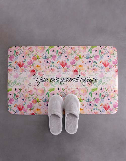 personalised: Personalised Floral Own Message Bath Mat!