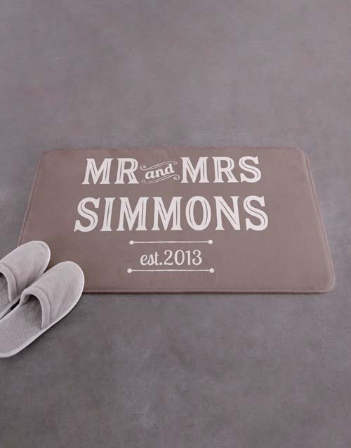 personalised: Personalised Retro Mr and Mrs Bath Mat!