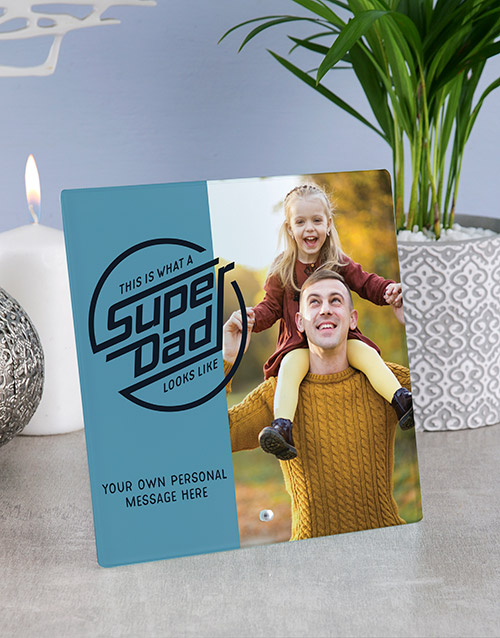 fathers-day: Personalised Super Dad Glass Tile !