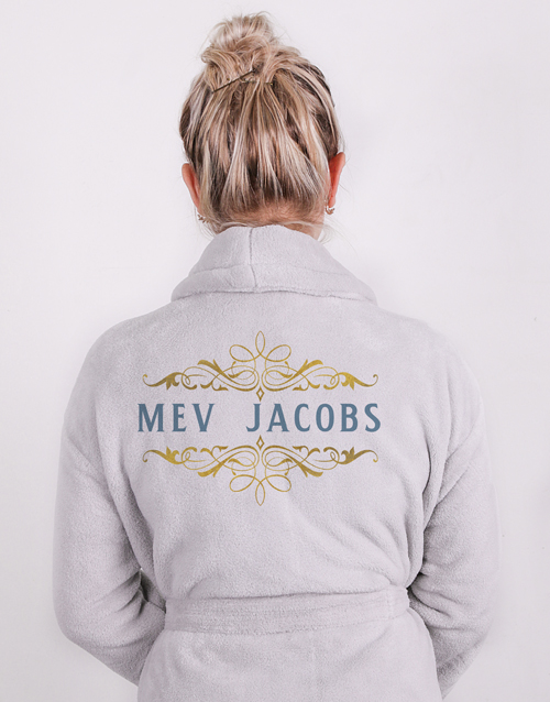 birthday: Personalised Mev Grey Fleece Gown!