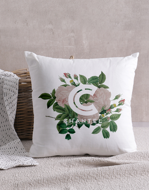 christmas: Personalised Floral Initial Scatter Cushion!