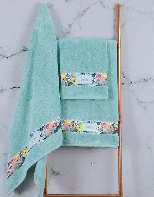 bath-and-body: Personalised Bright Floral Duck Egg Towel Set!