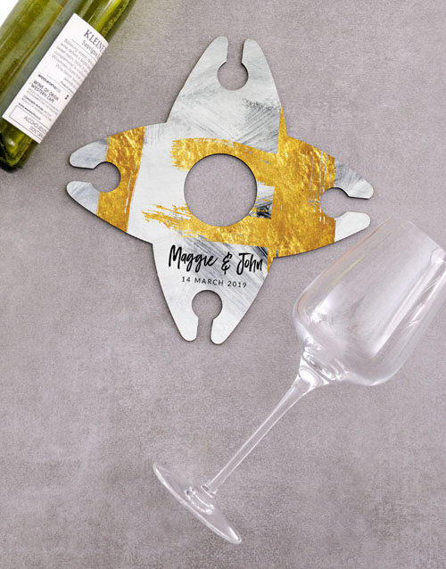 anniversary: Personalised Golden Wine Glass And Bottle Holder!