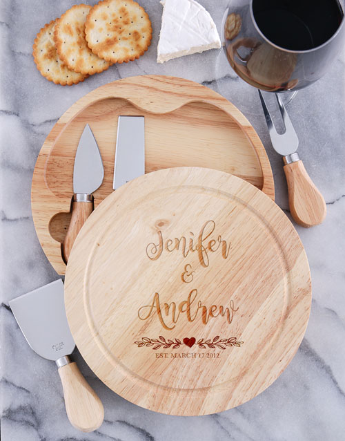 anniversary: Personalised Couples Cheese Board with Knives!