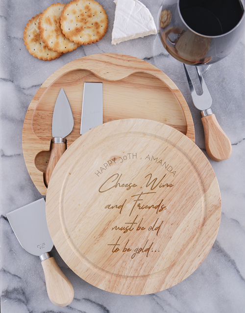 homeware: Personalised To Be Gold Cheese Board With Knives!