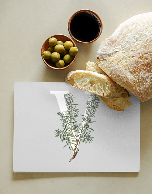 homeware: Personalised Floral Monogram Glass Chopping Board!
