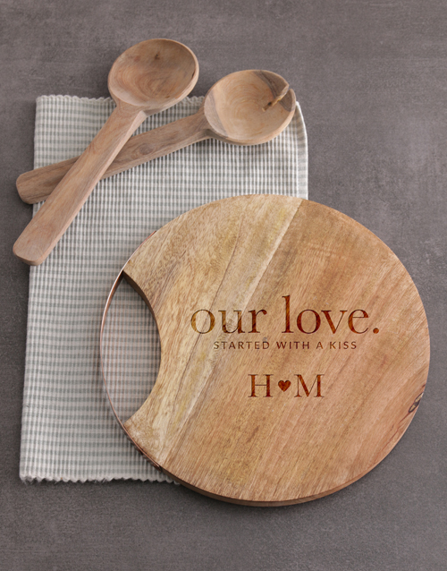 anniversary: Personalised Our Love Round Chopping Board!