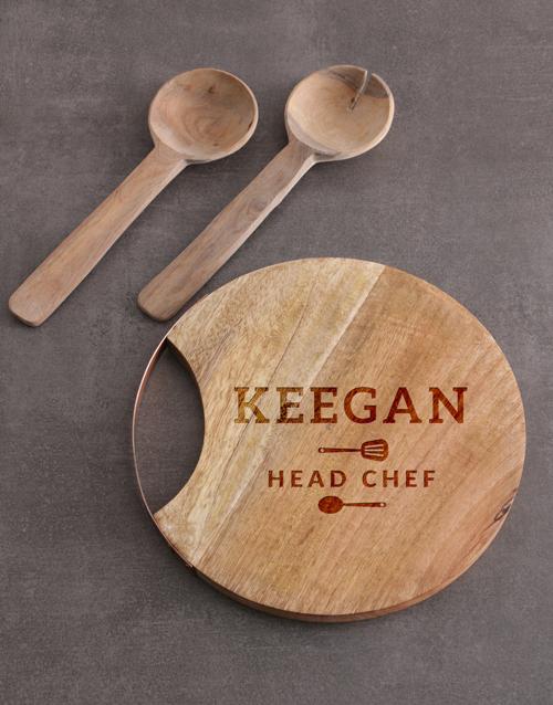 homeware: Personalised Head Chef Round Chopping Board!