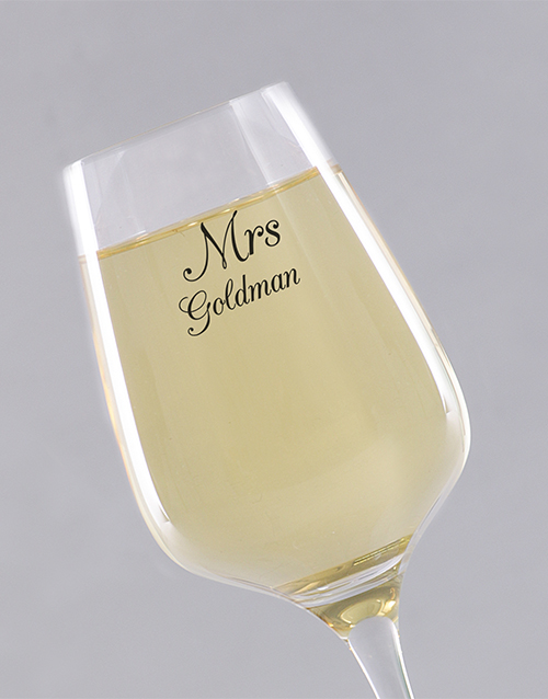 homeware: Personalised Mrs Single Wine Glass!