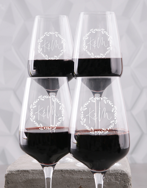 anniversary: Personalised Couples Wine Glass Set!